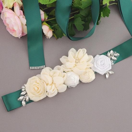 Fashion Chiffon Flowers Wedding Sash with Beadings_15