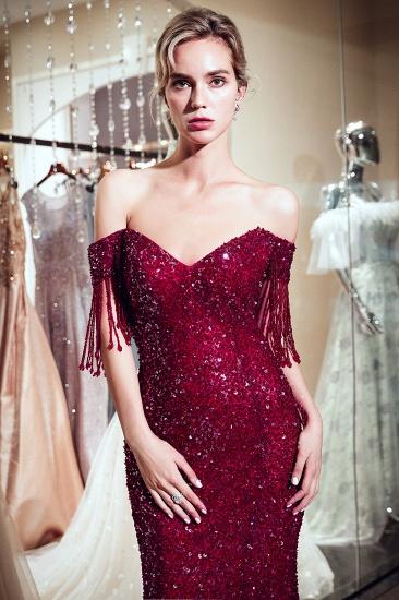 Elegant Mermaid Off-the-shoulder Prom Dresses V-neck Sequins Long Evening Dresses_10