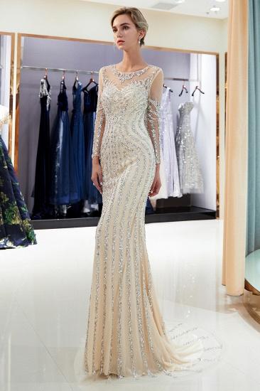 BMbridal Gorgeous Mermaid Jewel Long Prom Dresses Long Sleeves Evening Dresses with Rhinestones_15