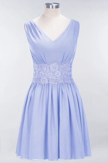 Pretty V-Neck Short Sleeveless Lace Bridesmaid Dresses Online_22