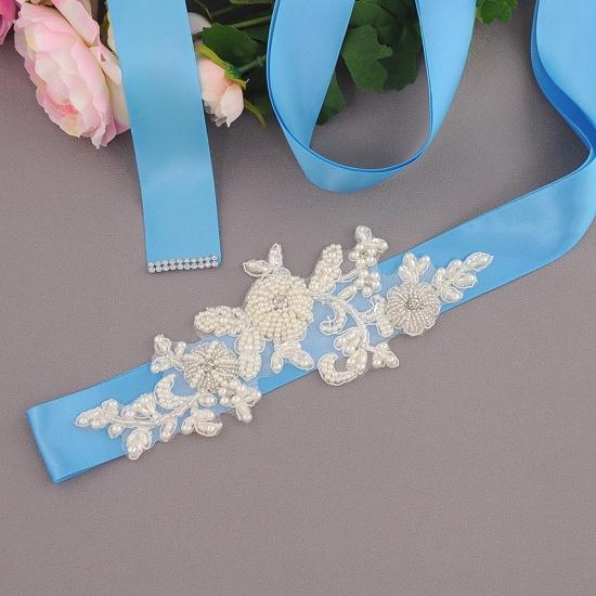 Beautiful Satin Flower Wedding Sash with Pearls_11