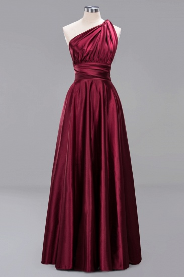 Chic Burgundy Chiffon Long Bridesmaid Dresses With One Shoulder_40