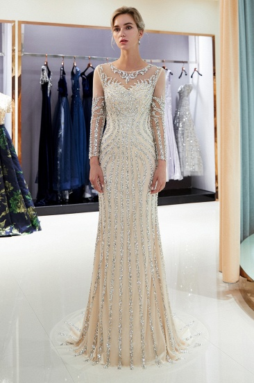 BMbridal Gorgeous Mermaid Jewel Long Prom Dresses Long Sleeves Evening Dresses with Rhinestones_1