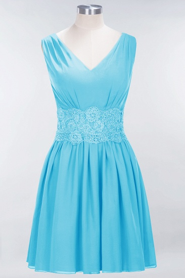 Pretty V-Neck Short Sleeveless Lace Bridesmaid Dresses Online_24
