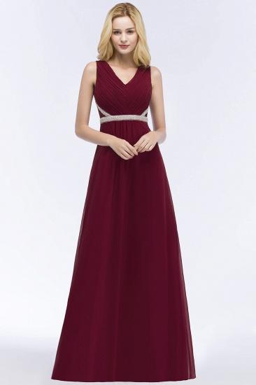BMbridal Chiffon Burgundy Long Affordable Bridesmaid Dress With Beading Sash_1