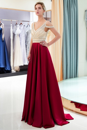 BMbridal Elegant V-neck Sleeveless Burgundy Prom Dresses A-line Crystal Beading Evening Dresses On Sale_8