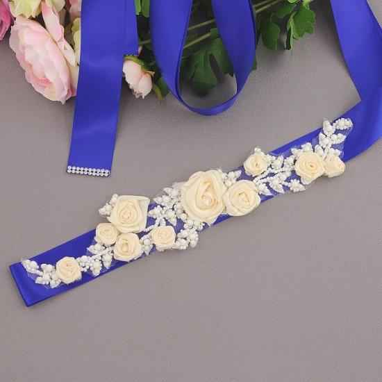 Elegant Satin Flowers Wedding Sash with Beadings_12