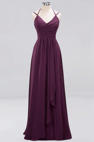 Affordable Chiffon Burgundy Bridesmaid Dress With Spaghetti Straps_19
