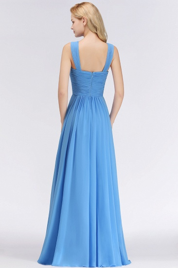 Chic Crisscross Ocean Blue Junior Bridesmaid Dresses Affordable Chiffon Ruffle Maid of Honor Dresses_3