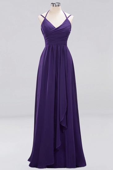 Affordable Chiffon Burgundy Bridesmaid Dress With Spaghetti Straps_18