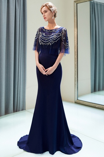 BMbridal Gorgeous Mermaid Jewel Long Prom Dresses Navy Beading Formal Dresses with Crystals_9