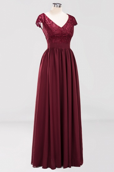 BMbridal Elegant Lace Open-Back Long Burgundy Bridesmaid Dresses Online_6