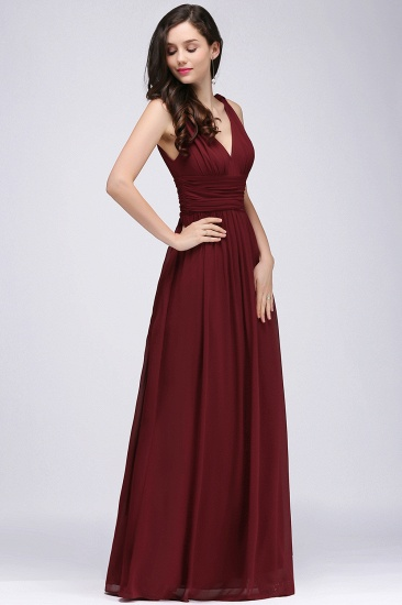 BMbridal Burgundy Long V-Neck Sleeveless Chiffon Bridesmaid Dress Online_1