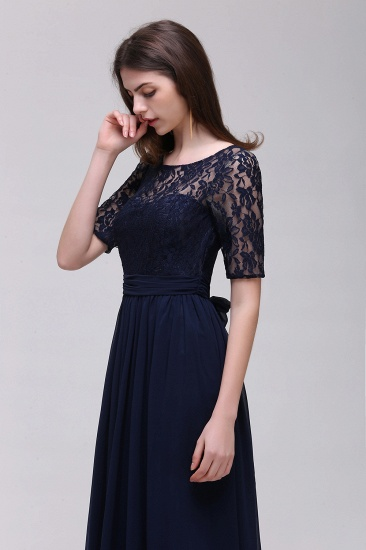 Affordable Lace Scoop Dark Navy Bridesmaid Dresses with Half-Sleeves_5