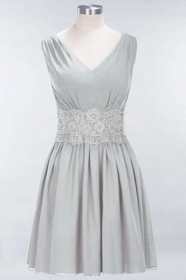 Pretty V-Neck Short Sleeveless Lace Bridesmaid Dresses Online_30