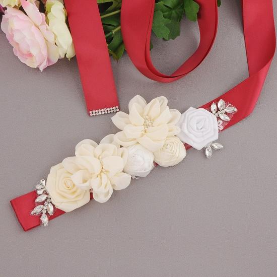 BMbridal Fashion Chiffon Flowers Wedding Sash with Beadings_5