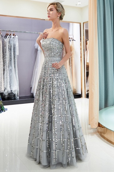 Chic A-line Strapless Sequined Prom Dresses Chiffon Long Party Dresses On Sale_1