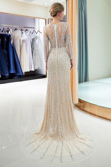BMbridal Gorgeous Mermaid Jewel Long Prom Dresses Long Sleeves Evening Dresses with Rhinestones_16