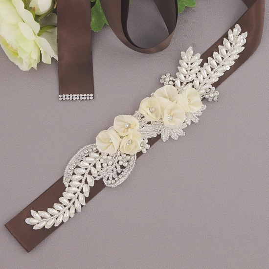 BMbridal Handmade Flower Pearl Wedding Sash with Beadings_5