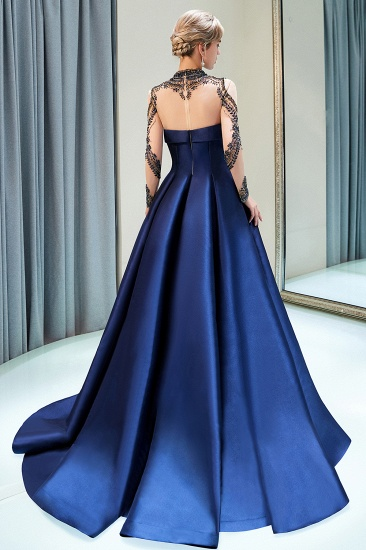 BMbridal Glamorous A-line Long Sleeves Prom Dresses Beading Neckline Satin Evening Gowns On Sale_3
