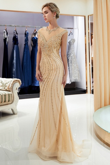 BMbridal Elegant Mermaid Jewel Long Gold Prom Dresses Sleeveless Evening Gowns with Rhinestones_6