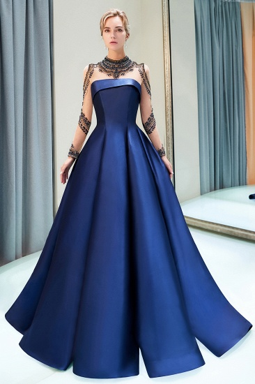 BMbridal Glamorous A-line Long Sleeves Prom Dresses Beading Neckline Satin Evening Gowns On Sale_4