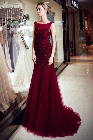 BMbridal Gorgeous Mermaid Sleeveless Prom Dresses Sequined Tulle Burgundy Formal Dresses Online_4