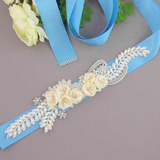 BMbridal Handmade Flower Pearl Wedding Sash with Beadings_10