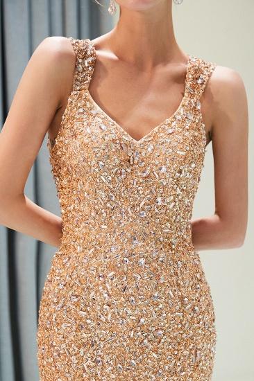 Glamorous V-Neck Rhinestones Prom Dress Long Mermaid Evening Gowns_10