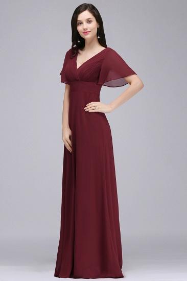 Affordable V-Neck Ruffle Long Burgundy Bridesmaid Dress With Short-Sleeves_4