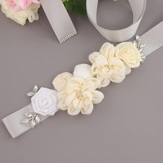 Fashion Chiffon Flowers Wedding Sash with Beadings_14