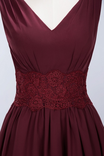 Pretty V-Neck Short Sleeveless Lace Bridesmaid Dresses Online_60