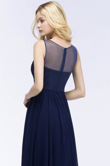 Chiffon Lace Appliques Affordable Navy Bridesmaid Dress Online_6