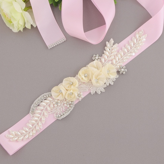 BMbridal Handmade Flower Pearl Wedding Sash with Beadings_18