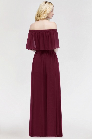 Vintage Off-the-Shoulder Long Burgundy Bridesmaid Dress with Ruffle_3