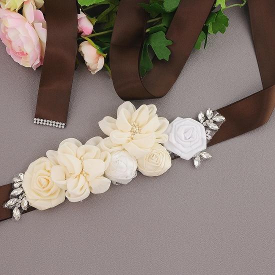 BMbridal Fashion Chiffon Flowers Wedding Sash with Beadings_6