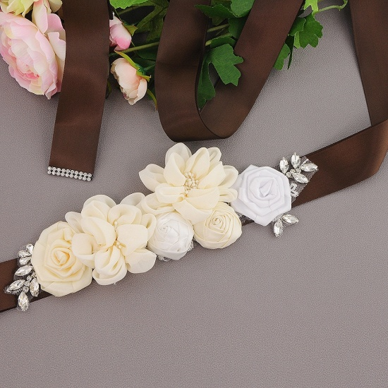 Fashion Chiffon Flowers Wedding Sash with Beadings_6
