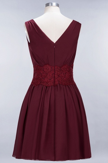 Pretty V-Neck Short Sleeveless Lace Bridesmaid Dresses Online_58