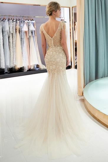 Elegant Mermaid Sleeveless Prom Dresses Flower Tulle Evening Dresses with Rhinestones_13