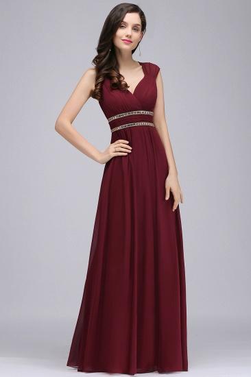 Chiffon Burgundy V-Neck Cap Sleeve Bridesmaid Dress with Beadings_4
