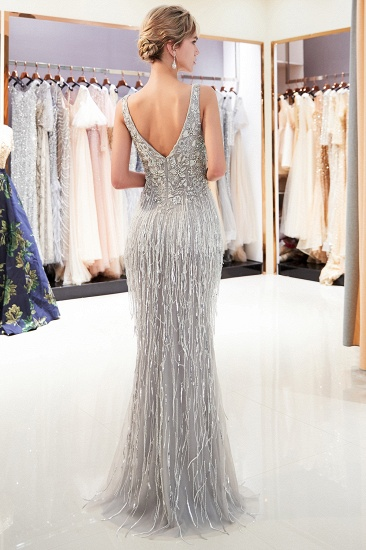 BMbridal Sexy Deep V-Neck Mermaid Silver Prom Sleeveless Sleeveless Crystals Formal Dresses with Tassels_3