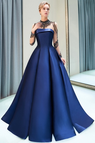 BMbridal Glamorous A-line Long Sleeves Prom Dresses Beading Neckline Satin Evening Gowns On Sale_8