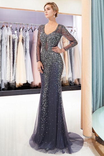 Afordable Mermaid V-Neck Long Sleeves Prom Dresses Sparkly Beading Evening Dresses On Sale_6