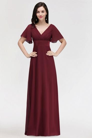 Affordable V-Neck Ruffle Long Burgundy Bridesmaid Dress With Short-Sleeves_1