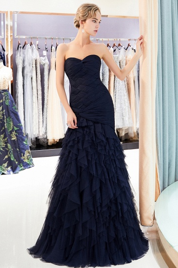 BMbridal Elegant Mermaid Sweetheart Strapless Prom Dresses Draped Tulle Long Evening Dresses On Sale_6