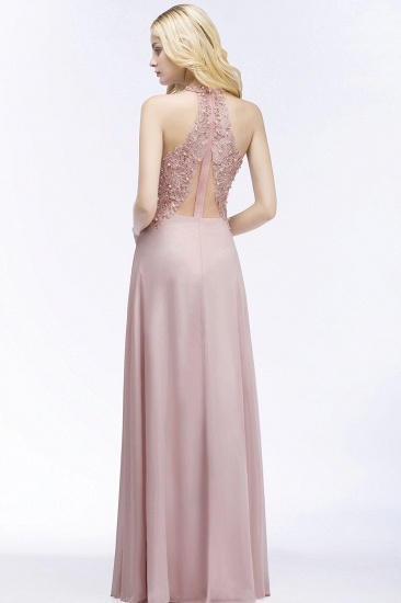 Chic Lace V-neck Pink Chiffon Bridesmaid Dress with Pearls_3