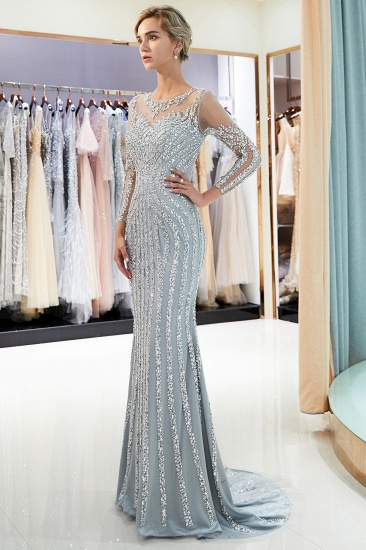 Gorgeous Mermaid Jewel Long Prom Dresses Long Sleeves Evening Dresses with Rhinestones_5
