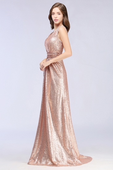Sparkly Sequined V-Neck Sleeveless Bridesmaid Dress Online_2