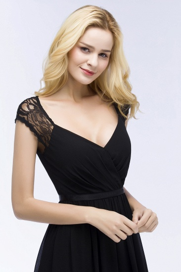 Elegant Lace Black V-Neck Sleeveless Bridesmaid Dress with Hollowout Back_8