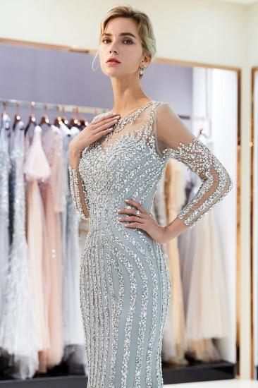 BMbridal Gorgeous Mermaid Jewel Long Prom Dresses Long Sleeves Evening Dresses with Rhinestones_9